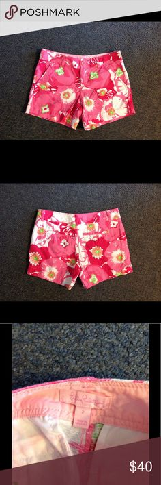 Lilly Pulitzer Pink Floral Shorts 2 Cute pair of Lilly shorts. Pink floral print - made of 100% cotton in size 2. Great condition. Lilly Pulitzer Shorts