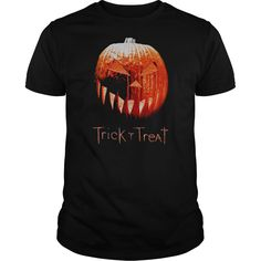 Trick or Treat Halloween Jack-O-Lantern t-shirt that's a great alternative to wearing a Halloween costume. Men's Halloween tee also available in hoodie style.