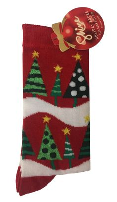 Shine Women's 1-Pair Christmas Holiday Crew Socks - Red / 9-11