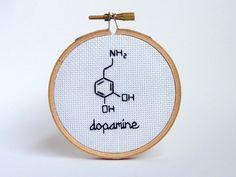Dopamine Structure Chemistry Mini Cross Stitch - Gift - Home Decor - Office Decor