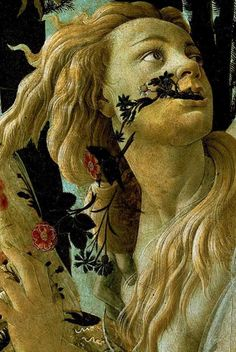Primavera - Chloris detail, 1482   Sandro Botticelli  Chloris (Nymph)  Chloris was a Nymph associated with spring.  Roman  Myths have it that she was abducted by (and later married) Zephyrus.. She was also thought to have been responsible for the transformations of Adonis, Attis, Crocus, Hyacinthus and Narcissus into flowers.