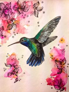 Hummingbird drawing in ink and watercolours