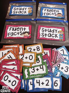 Have students sort facts they know into Fluent Facts and ones they're working on in their Study Stack - click to get the cards and bag labels!! (Fact Fluency in First Grade)