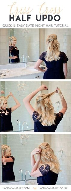 Need an easy hair tutorial for date night? This crisscross half updo is the easiest and quickest way to add a little fun to your normal do! It takes less than 5 minutes and works on unwashed hair too! Teething necklace for mom but pretty enough for anyone! | www.alamum.com | www.alamum.co.nz |