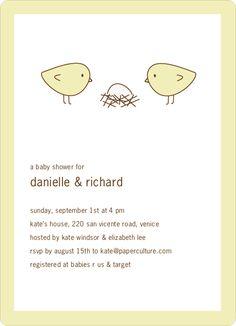 Nesting Birds Baby Shower Invitation