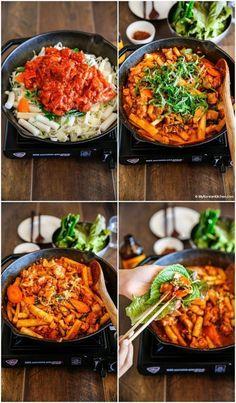 Dak Galbi (Korean Spicy Chicken Stir Fry) - My Korean Kitchen - chryssa-ideas-recipes K Food, Good Food, Yummy Food, Asian Recipes, Healthy Recipes, Healthy Food, Easy Korean Recipes, Asian Desserts, Asian Foods