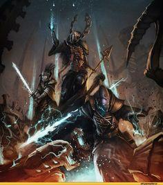 warhammer 40000,фэндомы,art,арт,красивые картинки,eldar,tyranids,Farseers,Warlocks