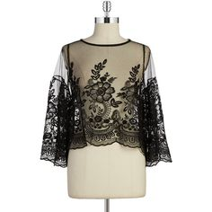 Design Lab Lord & Taylor Lace Crop Top ($68) ❤ liked on Polyvore featuring tops, black, lace bell sleeve top, bohemian crop top, bohemian tops, lace top and black top