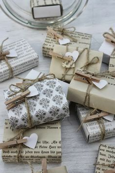 Twine and mini clothespins. I'd have them hold the gift tag. #giftwrap #christmas