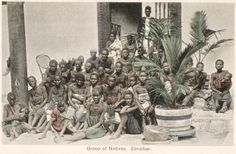 Group of Slaves captured from a Dhow, Zanzibar  - End of 19th century - National Maritime Museum