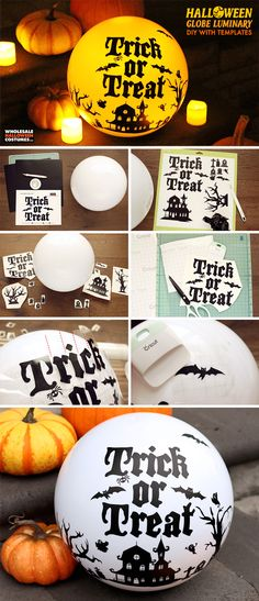 Light the way this Halloween for your guests and trick-or-treaters with a stunning luminary. This DIY Halloween globe light is the perfect addition to your fall Halloween Scene, Halloween Night, Halloween Diy, Pumpkin Family, Wholesale Halloween Costumes, Puck Lights, Tea Design, Globe Lights, Diy Halloween Decorations