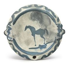 Pablo Picasso CHEVAL Stamped faintly Madoura plein feu (on the underside) Painted ceramic; bain marie dish Diameter: 8 1/2 in. 21.5 cm Executed circa 1947-48; this work is unique.