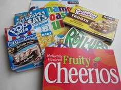 Cereal boxes upcycled into notepads.