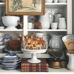 Every November, when the vintage deer come out to play, I'm reminded of the deep confusion that I faced as a youngster over the concept of… Woodland Christmas, Country Christmas, Vintage Christmas, Christmas Centerpieces, Christmas Decorations, Christmas Vignette, Cosy Home, After Christmas, Cozy Christmas