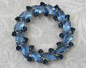 "Vintage Blue Rhinestone Brooch - Lg 2-1/4"" Circle with marquise sky blue stones & dark blue round - 1950s-60s"