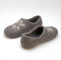 Felted Wool Clogs gray star  organic wool house shoes  by Rasae