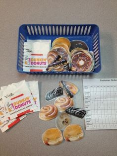 Adaptive Tasks: April 2013-Another great vocational task to teach order taking and accuracy. I made a visual of several donuts as well as a list of names and what each person ordered. I used individual bags with corresponding names as order sheet for the student to put the donuts in. When student is finished you check them for accuracy.