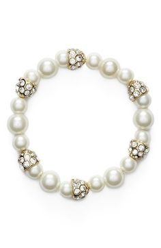Anne+Klein+'Pearl+Perfection'+Faux+Pearl+Stretch+Bracelet+available+at+#Nordstrom