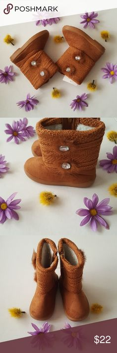 Size 8 camel flower boot New! Size 8 camel two jewel flower boot warm interior boot for toddler. NEW! With tag! Shoes Boots