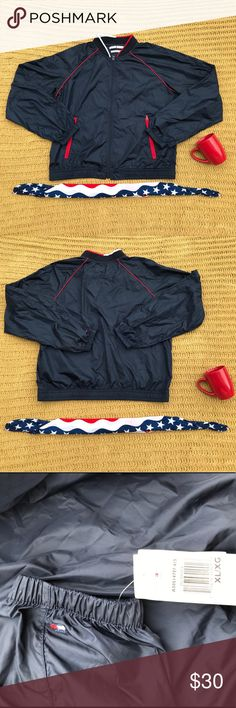 Tommy Hilfiger bomber/windbreaker Brand new. NWT this bomber is very trendy ! It's blue red, and white. Tommy Hilfiger Jackets & Coats