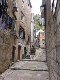 The entrance lane to the city walls of Kotor, Montenegro