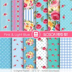 Flowers Digital Paper Light Blue Pink Floral by blossompaperart  $3.00 USD