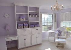 Lavender Nursery - Lavendr on the drawer/door knobs ties it together. Baby Bedroom, Nursery Room, Girl Nursery, Girl Room, Nursery Ideas, Bedroom Ideas, Lila Kindergarten, Lilac Nursery, Sophisticated Nursery