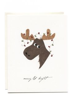 Merry and Bright Moose Card Merry And Bright, Christmas Lights, Moose, Card Stock, Snoopy, Cello, Envelope, Cards, Handmade