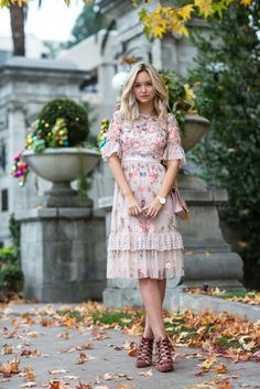 Prettiest Tea Dress With Beautiful Embroidered Flowers make a lovely and charming spring statement in pinks! Sequins add shimmer and sparkle and delicate white lace completes the sheer, feminine, flirty look. Pair with delicate accessories like this YSL p Beautiful Casual Dresses, Pretty Dresses, Gorgeous Dress, Modest Fashion, Fashion Dresses, Style Fashion, Fashion Clothes, High Fashion, Dress Outfits