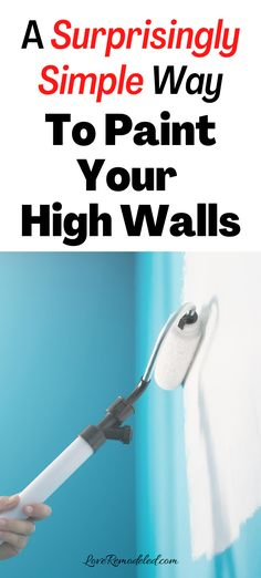 Need to paint but not sure how to get the really high spots?  This insanely easy trick to painting your tall walls will make the job simple!  Click here to learn how to paint your rooms with vaulted ceilings and stairwells! #paintingtips Paint Colors For Home, House Colors, How To Make Paint, How To Get, Painting Hacks, Painted Staircases, Paint Types, Painting Trim