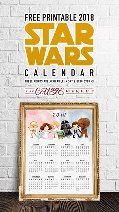 Free Printable 2018 Star Wars Calendar /// One Page /// Original Trilogy