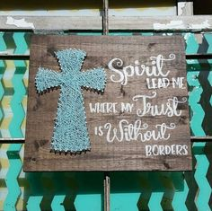 $39.99 Spirit Lead Me Sign String Art Cross Stained Wood Spirit Lead Me Where My Trust is Without Borders Song Lyrics Blue Cross Home Decor Christian Home Decor Inspirational Song Lyric Home Decor Pastor Gift Worship Leader Gift Hand Painted Handmade by NailedItDesign on Etsy  NailedItDesign.Etsy.com