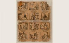 Leven van St. Nicolaas, Vie de Saint Nicolas De twaalf houtsneden op de prent verbeelden het leven van Sint Nicolaas. Onder elke afbeelding staat een vierregelig gedicht in het Nederlands en een tweeregelig gedicht in het Frans. Ca. 1801-1845