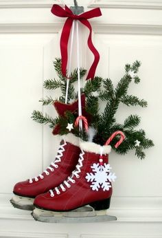 door decor - ice skates