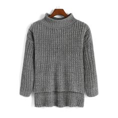 SheIn(sheinside) Grey High Neck Dip Hem Knit Sweater ($16) ❤ liked on Polyvore featuring tops, sweaters, grey, long sleeve pullover sweater, loose knit sweater, knit sweater, grey turtleneck sweater and grey sweater