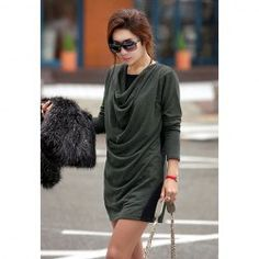 $9.40 Fashion Paneled Design Drape Neck Long Sleeves Mini Dress For Women