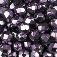 Heavy Metal Dark Magenta 6mm top-quality Czech fire-polished, faceted, round glass beads, in a metallic medium purple. UK seller.