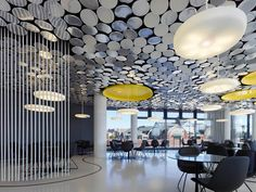 Modern Ceiling Design With Mirror Chip Luminosity U2013 Der Spiegel Canteen  Design By IFG