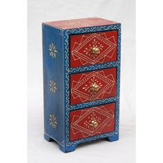 Blue and Red Mango Wood Almirah Chest (India) | Overstock.com Shopping - The Best Deals on Jewelry Boxes