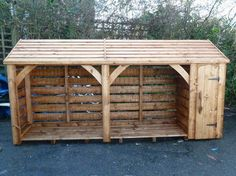 wood shed Outdoor Firewood Rack, Firewood Shed, Firewood Storage, Outside Living, Outdoor Living, Log Shed, Pallet Shed, Wood Storage Sheds, Wood Shed Plans
