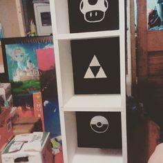 Finished the amiibo shelf! Ended up painting over the colours :D #amiibo #Nintendo #geekdecor #art