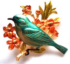 """Vintage Signed JJ """"Gold pewter Bluebird on Floral Branch"""" Brooch/Pin. Approx 1 3/4 inches wide....  #birds #flowers #gold #green #leaves #orange #vintage #jewelry"""