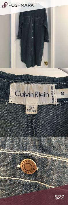 Denim Calvin Klein Shirt dress Denim CK dress. Button down front and side pockets. Calvin Klein Dresses