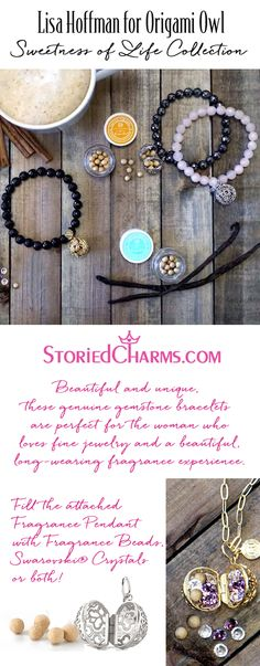 Beautiful and unique, these genuine gemstone bracelets by Lisa Hoffman are perfect for the woman who loves fine jewelry and a beautiful, long-wearing fragrance experience. Fill the attached Fragrance Pendant with Fragrance Beads, Swarovski® Crystals, or both! SHOP EVERYTHING at StoriedCharms.com