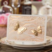 Laser Cut Gold Color Wedding Invitation Card With Gold 3D Butterfly