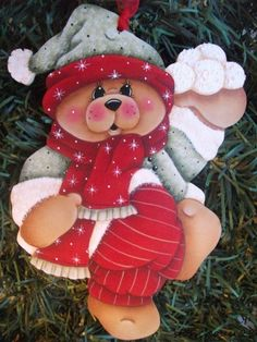 HP TEDDY BEAR with Snowballs ORNAMENT | Crafts, Handcrafted & Finished Pieces, Handpainted Items | eBay!