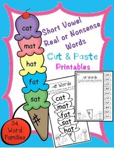 Ice cream cones = yummy. Ice cream cones and literacy NO PREP short vowel real or nonsense words cut & paste printables = yummy & educational!With this packet, you get 34 printables. Each printable NO PREP sheet has an ice cream cone with no scoops on it.