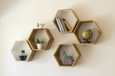 Check it out! Living Room Colors, Living Room Decor, Interior Design Living Room, Living Room Designs, Hexagon Wall Shelf, Furniture Decor, House Furniture, Wall Spaces, Bohemian Decor