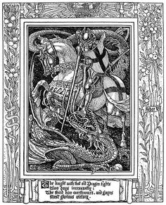 Walter Crane, The knight with that old dragon fights Two days incessantly… From Spenser's faerie queene vol. by Edmund Spenser, London, 1895 Walter Crane, Chateau Fort Moyen Age, Dragon Fight, Old Dragon, Saint George And The Dragon, Art Et Illustration, Book Illustrations, Black And White Illustration, Faeries