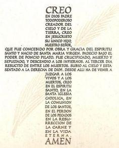 The Apostles Creed in Spanish (Credo) Catholic Prayers, Catholic Quotes, Catholic Mass, Spanish Prayers, Apostles Creed, Special Prayers, Holy Rosary, God Prayer, Prayer Quotes